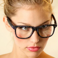 Black Swarovski Crystal Reader Nerd Glasses