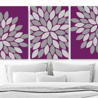 Eggplant Purple Gray Flower Bedroom Canvas or Print FLOWER Wall Art, Eggplant Purple Gray Flower Bathroom Wall Decor, Set of 3 Art Pictures