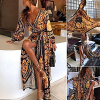 Elegant Vintage Gold Print Long Maxi Dress
