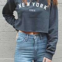 New York 199x Cropped Oversized Sweatshirt - Dark Heather Grey