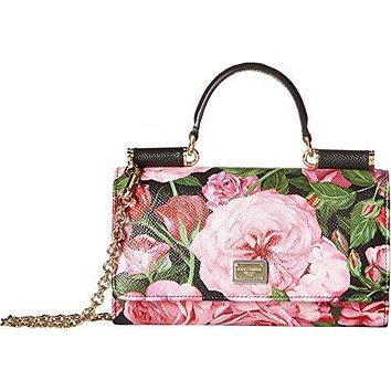 Dolce & Gabbana Women's Floral Printed iPhone Bag Black/Pink Floral One Size