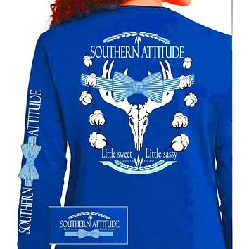 Country Life Outfitters Blue Southern Attitude Cotton Deer Skull Bow Hunt Vintage Long Sleeve Bright T Shirt