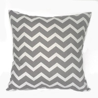 Grey and White Chevron Throw Pillow, 14x14, Home and Dorm Decor - Pillow Insert Included