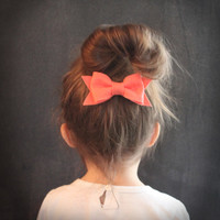 Spring bow hair clip set . set of three hair bows . coral, apple and sky blue . little girl hair bow clips . spring fashion .