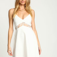 Ivory Lacy X Back Flare Dress - LoveCulture