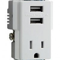 Combo Wall USB Charger Tamper Resistant Receptacle Outlet 2 Built-in USB Ports White