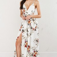 Floral Sleeveless Jumpsuit in White