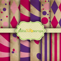 Pink Purple Circus Backgrounds- Carnival Vol2 -12 Digital Printable Scrapbook Papers-12x12inch -Aged Shabby Printable- INSTANT DOWNLOAD