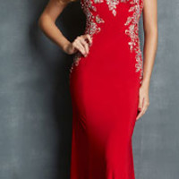 Night Moves by Allure 2014 Prom Dresses - Red Jersey & Crystal Beading Illusion Prom Gown