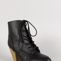 Qupid Lace Up Chunky Heel Pointy Toe Bootie Color: Black, Size: 9