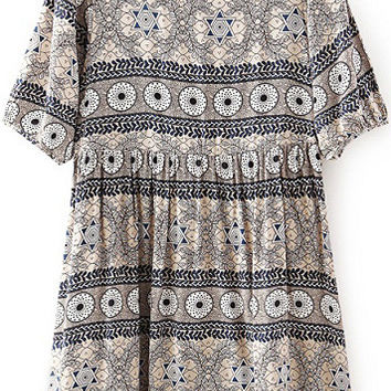 Grey Half Sleeve High Waist Geometric Print Dress
