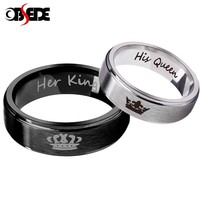 Cool OBSEDE Fashion 1 pcs His Queen Her King Couple Ring Stainless Steel Wedding Ring for Women Men Jewelry Silver/Black Gift CrownAT_93_12
