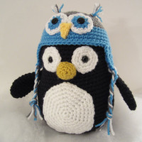 Penguin Stuffed Cutie with Owl Hat - MADE TO ORDER - by CROriginals