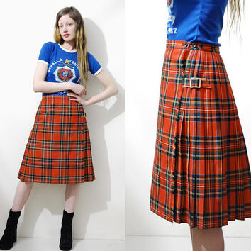 90s Vintage TARTAN Skirt HIGHWAISTED Belts Pleated Red Wool Plaid Midi Mid Length Kilt Skirt Wrap Punk Grunge Preppy 1990s vtg xxs xs