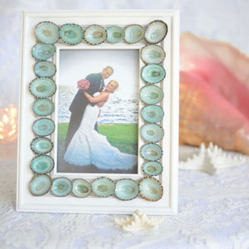 Limpet Seashell White 4x6 Inch Picture Frame - Aqua Blue Turquoise shell - Chic Beach Wedding Table Number Coastal Home Photo Decor