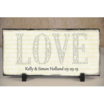 Customizable Slate Song Lyric Sign - Love Lyric Plaque - Handmade and Personalized