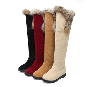 Woman's Suede Platform Wedge Knee High Boots