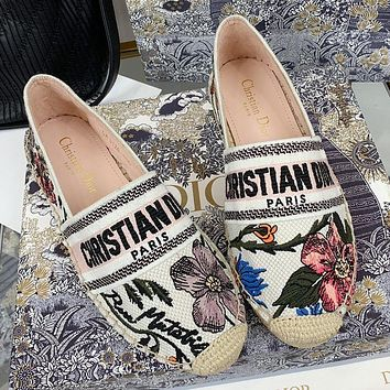 DIOR Patterned jacquard embroidered canvas grass woven fisherman's shoes