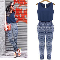 New Jumpsuits Summer jumpsuits Pencil Long Print Bodysuit Bule Women ladies
