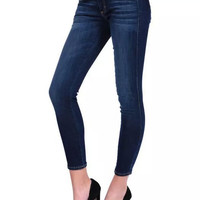 Denim Embroidery Pocket Skinny Pants