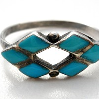 Inlay Blue Turquoise Ring Sterling Silver Size 7.25