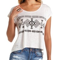 Slit-Back Aztec Graphic High-Low Tee