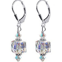 SCER053 925 Sterling Silver Clear Drop Handmade Earrings Made with Swarovski Crystal Elements