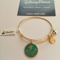 Disney Alex and Ani Parks Ariel Follow Your Dreams Bangle Bracelet Gold New W Tags
