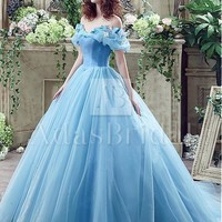 [88.99] In Stock Gorgeous Organza Off-the-shoulder Ball Gown Quinceanera Dresses - dressilyme.com