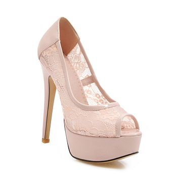 Women's High-heeled Fish Mouth Stiletto Heel Platform Pumps
