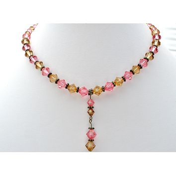 """Pink & Amber Crystal Bead Necklace 16"""" 925"""