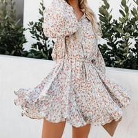 Hot Sale Fashionable Women Sweet Floral Print Long Sleeve Dress