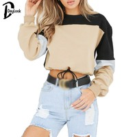 DayLook Chic Hoodies Long Sleeve Loose Crop Top Sweatshirt Casual Patchwork Neck Elastic Waist Pullovers Girls Streetwear