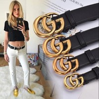 GUCCI Hot Sale Classic Boys Girls Delicate GG Pearl Smooth Buckle Leather Belt