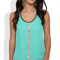 chiffon racerback tank with center front beaded detail