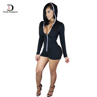 Jumpsuit Hoodies Shorts Black Bodysuits