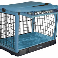 Deluxe Steel Dog Crate with Bolster Pad  - Small