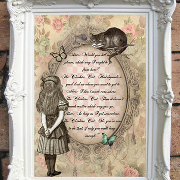 ALICE in Wonderland Quote Art Print on Handmade Paper. Shabby Chic Decor. Vintage Style Alice Wall Art. Altered Book Illustration. Code:A011