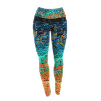 "Ebi Emporium ""Eternal Tide II"" Teal Orange Yoga Leggings"