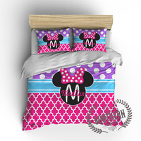Personalized Girl's Mouse Ears with Bow Bedding Set in Pink, Blue, Purple