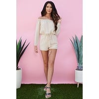 Kelsie Off The Shoulder Romper (Tan)