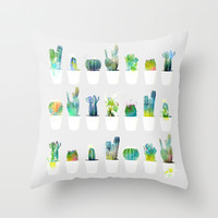 WATERCOLORS BABY CACTUS Throw Pillow by Maioriz Home