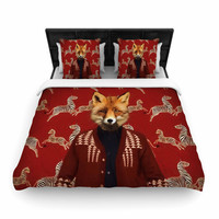 "Natt ""Family Portrait N1"" Red Fox Woven Duvet Cover"