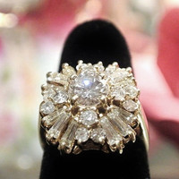 Diamond Ring Cluster Cocktail Ring 3.55 CT Weight 14K 14 K Yellow Gold Appraised Appraisal Statement Ring Center Stone Over One Carat Alone