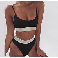 High Waist Bikini Bandeau Top High Cut Swimsuit Solid Sexy Swimwear Women Bathers Bathing Suit Shiny Biquini