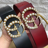 Gucci ladies classic retro all-match casual pearl double G belt