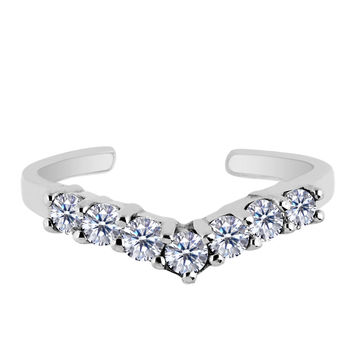 Sterling Silver Rhodium Plated V Shape Prong Set CZ Cuff Style Adjustable Toe Ring