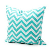 Lavievert Decorative Cotton Canvas Square Throw Pillow Cover Cushion Case Handmade White and Cyan Chevron Stripe Toss Pillowcase with Hidden Zipper Closure 18 X 18 Inches (For Living Room, Sofa, Etc)