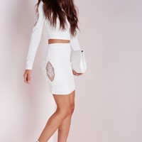 Missguided - Lace Insert Panel Mini Skirt White