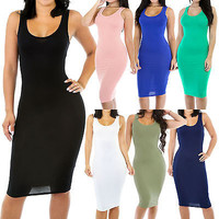 New Solid Fitted Sleeveless Scoop Neckline Stretch Bodycon Dress Size SML GT9306